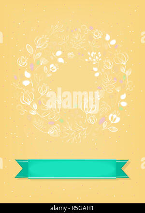 Graceful Yellow Greeting Card. Ring of flowers - Stock Photo