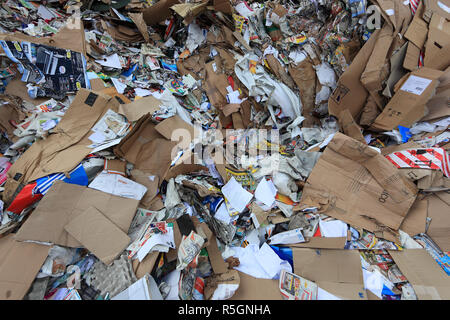 Waste paper for recycling in a recycling plant, Germany - Stock Photo