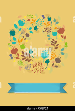 Graceful Autumn Greeting Card. Ring of flowers - Stock Photo