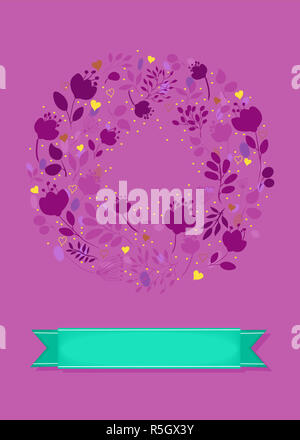 Graceful Purple Greeting Card. Ring of flowers - Stock Photo
