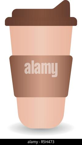 Reusable coffee cups on white background. Vector hand drawn illustration - Stock Photo