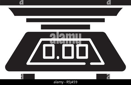 Kitchen scale black icon, vector sign on isolated background. Kitchen scale concept symbol, illustration  - Stock Photo