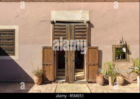 01-03-15, Marrakech, Morocco. Typical old wooden door and windows of a house in the sub-Atlas Berber region. Photo: ©Simon Grosset - Stock Photo