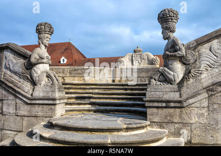 art nouveau - sculptures by bad nauheim. for nearly two years,the king of rock n'roll lived in this city during his military service. - Stock Photo