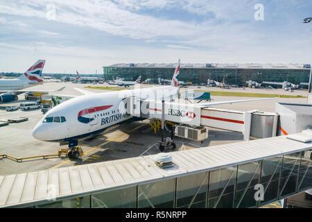 September 24, 2017 London/UK - British Airways aircraft docked at Terminal 5, Heathrow Airport - Stock Photo