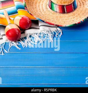 Mexico sombrero cinco de mayo wood background - Stock Photo