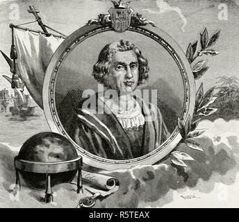 Christopher Columbus (1451-1506). Italian explorer, master navigator and admiral. Discoverer of America in 1492. Portrait. Engraving. La Civilizacion (The Civilization), volume III, 1882. - Stock Photo