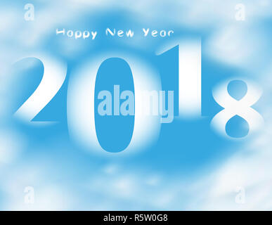 Word Happy new year 20178 on blue sky with clouds - Stock Photo