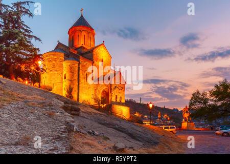 Metekhi Church at sunset Tbilisi, Georgia - Stock Photo