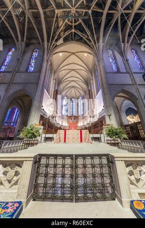 San Francisco, California - December 1, 2018: Interior of Grace Cathedral Nave. - Stock Photo