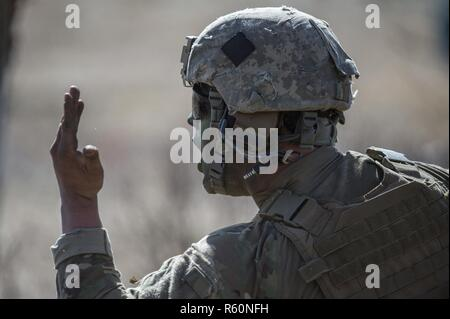 A paratrooper assigned to Scout Platoon, Headquarters and Headquarters Company, 1st Battalion, 501st Parachute Infantry Regiment, 4th Infantry Brigade Combat Team (Airborne), 25th Infantry Division, U.S. Army Alaska, shouts orders to fellow Soldiers while conducting live-fire training at the Infantry Platoon Battle Course on Joint Base Elmendorf-Richardson, Alaska, April 26, 2017. The paratroopers honed their fire and maneuver tactics and reinforced unit cohesion. - Stock Photo