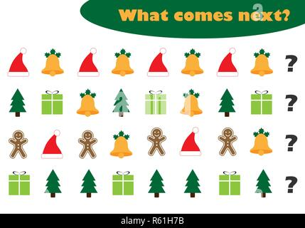 What comes next with christmas pictures for children, xmas fun education game for kids, preschool worksheet activity, task for the development of logi - Stock Photo