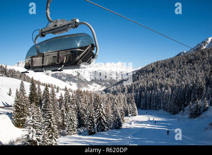 Skiing area in the Dolomites Alps. Overlooking the Sella group  in Val Gardena. Italy - Stock Photo