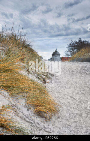 Old windmill in Vitte village on island of Hiddensee, off the Baltic coast of Northern Germany - Stock Photo