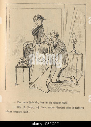 Vintage engraving of a Victorian cartoon of a mature man and young woman, 19th Century German - Stock Photo