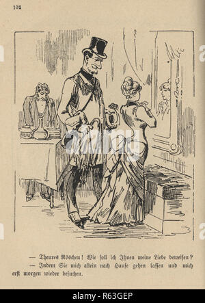 Vintage engraving of a Victorian cartoon of a mature man buying gifts for a young woman, 19th Century German - Stock Photo