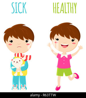 Sick sad little boy in pajamas with toy and cheerful healthy jumping boy. Opposite wordcard for illustration of word sick and healthy. Set of vector c - Stock Photo