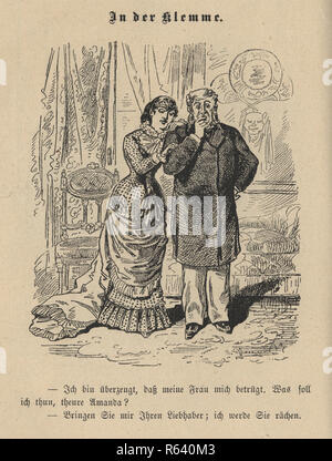 Vintage engraving of a Victorian cartoon of mature man worried that his young wife is cheating on him , 19th Century German - Stock Photo