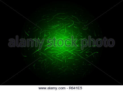 Glowing high energy particles flowing inside a sphere isolated over black background - Stock Photo