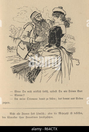 Vintage engraving of a Victorian cartoon of a mature man with a long beard flirting with a woman, 19th Century German - Stock Photo