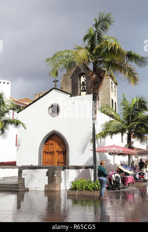The Corpo Santo Chapel in Funchal after rain - Stock Photo