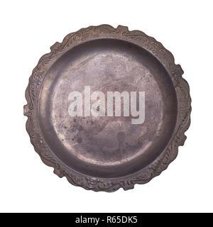 empty old aluminum dish - Stock Photo