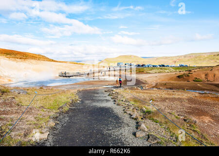 path to mud pot crater in Krysuvik area, Iceland - Stock Photo
