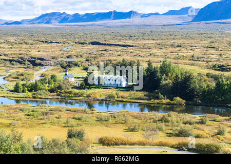 above view of valley with Thingvallakirkja church - Stock Photo