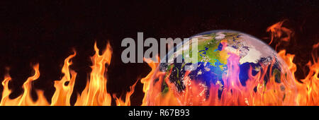 hot planet Earth, the blue planet surrounded by flames, global warming warning - Stock Photo
