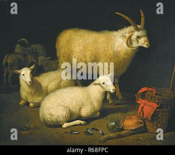 Aelbert Cuyp A BARN INTERIOR WITH A FOUR-HORNED RAM AND FOUR EWES, AND A GOAT, WITH A STILL LIFE OF A BASKET AND UPTURNED POTS TO THE RIGHT.jpg - R68F - Stock Photo