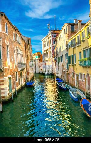 Gondola Touirists Colorful Small Side Canal Bridge Venice Italy - Stock Photo