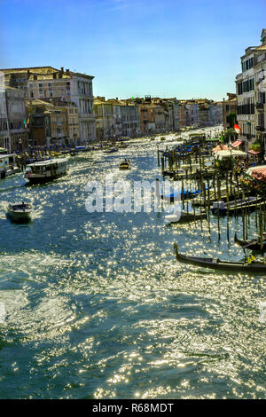 Grand Canal Public Water Ferry Vaporettor Venice Italy - Stock Photo