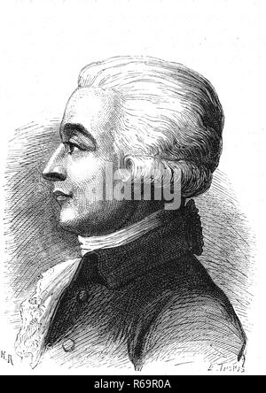Jean-Pierre Blanchard, 1753-1809, french balloonist crossed the Channel with John Jeffries, 1864, France - Stock Photo