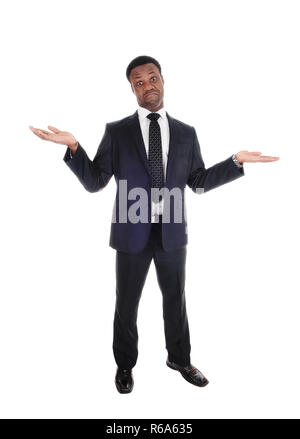 Business man gesturing I don't know - Stock Photo