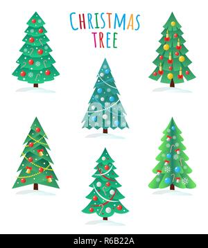 Set of different Christmas trees icon, Happy New Year concept - Stock Photo