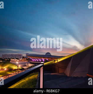 View on the social part of Katowice during dramatic sunset time. Poland. Europe. - Stock Photo