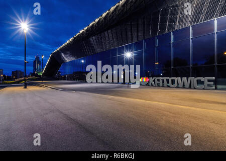 International Convention Centre in Katowice in the evening. - Stock Photo
