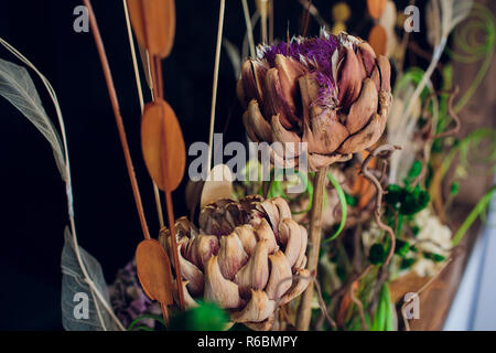 dry flowers in vintage tone ,background texture,flat lay concept - Stock Photo