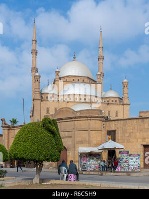 Cairo, Egypt - January 10 2016: The great Mosque of Muhammad Ali Pasha (Alabaster Mosque), situated in the Citadel of Cairo - Stock Photo