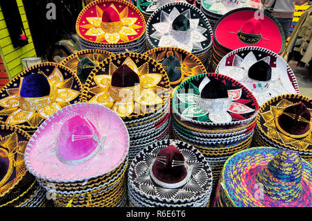 A Stack Of Sombreros In Different Sizes For Sale In A Mexico City Shop - Stock Photo