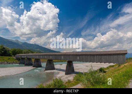 Old Rhine Bridge From Switzerland To Liechtenstein In Vaduz - Stock Photo