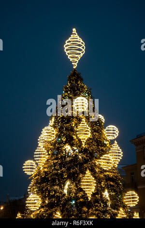 Christmas tree in Vilnius Town Hall square. Christmas in Vilnius - the largest festival of the capital of Lithuania - Stock Photo