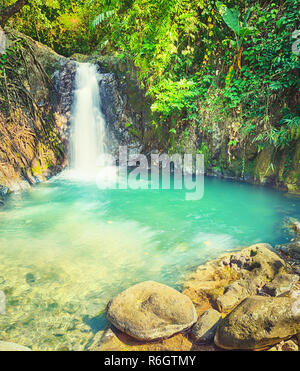 Beautiful Kaeng Nyui Waterfalls. Laos landscape. - Stock Photo
