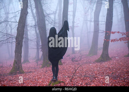 Girl in black hood standing on a stump deep in a dark forest. Waiting for magic to happen. Thick fog all around. Scary autumn scene - Stock Photo