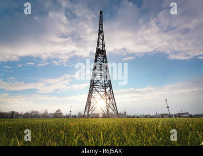 Historic radiostation tower in Gliwice in the contour light, Poland. Europe - Stock Photo