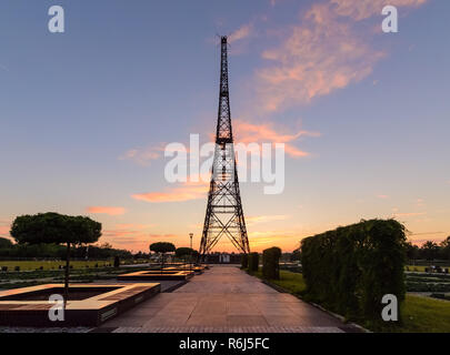 Historic radiostation tower in Gliwice, Poland in sunset. - Stock Photo
