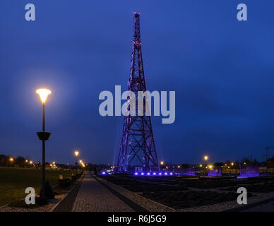 Historic radiostation tower in Gliwice, Poland in the evening. (the highest wooden building on the world - 111m). The place of Nazi provocation on Aug - Stock Photo