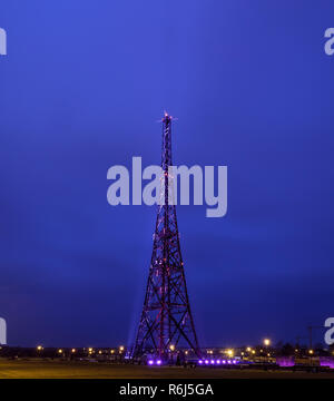 Historic radiostation tower in Gliwice, Poland in the night (the highest wooden building on the world - 111m). The place of Nazi provocation on August - Stock Photo