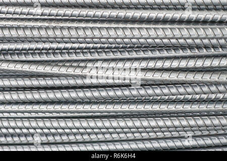 steel bars close up texture for background industry construction shallow DOF - Stock Photo