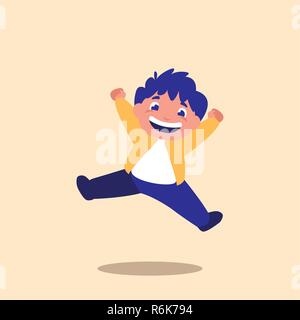 cute little boy jumping avatar character vector illustration design - Stock Photo